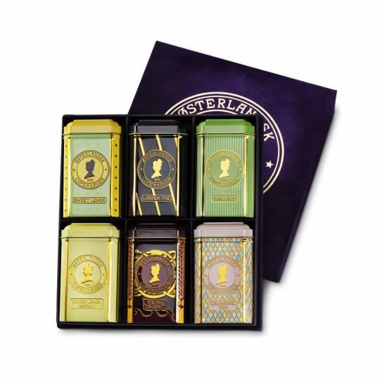 Luxus-Velour-Geschenkbox mit 6 Teedosen - Kräutertees