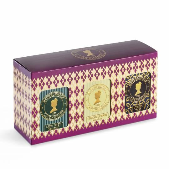 Gaveæske, 3 stk. tebrevsdåser - Økologisk Te