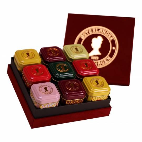 Deluxe Geschenkbox mit 9 Dosen Tee - Damentees